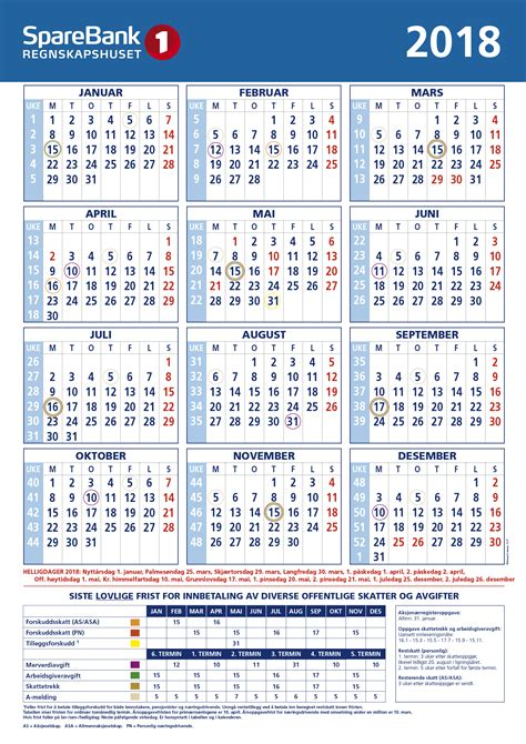 Kalender 2018 Med Helligdager Kalender Sparebank 1 Regnskapshuset Smn