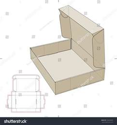 cardboard flat box with die cut pattern stock vector