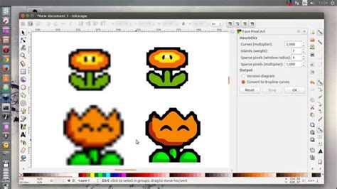 inkscape tutorial pixel art inkscape 0 91 pre trace pixel art youtube