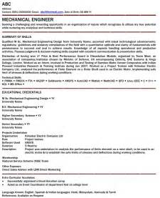 Resume Format For 1 Year Experienced Mechanical Engineer Latest Resume Format Mechanical Engineer Resume For Fresher