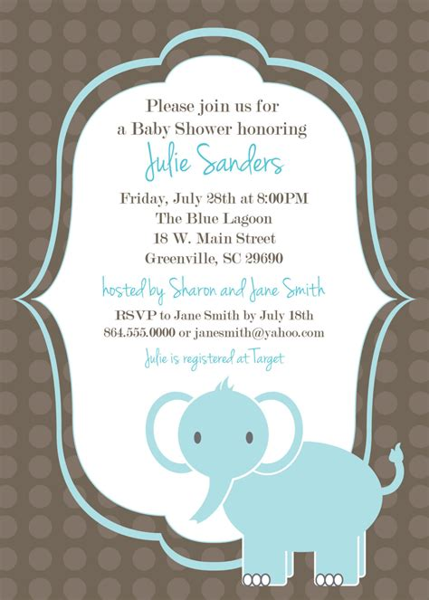 baby shower invite templates printable baby shower invitation elephant boy light blue