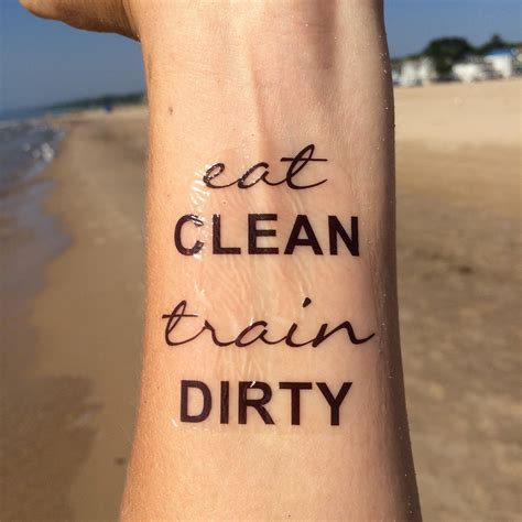 tattoo quotes gym eat clean train dirty workout tattoo temporary tattoo fake