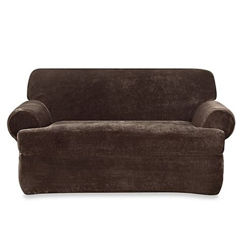 sure fit plush sofa slipcover buy sure fit 174 stretch plush 2 piece t cushion loveseat