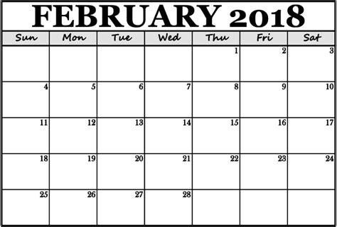 printable calendar 2018 landscape february 2018 calendar portrait landscape