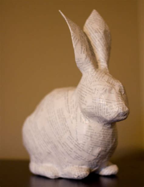 How To Make Paper Mache Rabbit - whimsical bunny rabbit paper mache sculpture made to