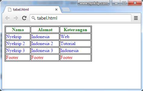 membuat tabel sederhana dengan html cara membuat tabel html 5 dengan css nyekrip