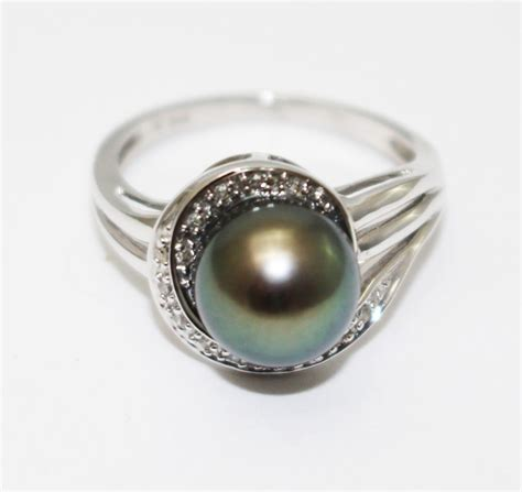 14kt white gold tahitian pearl ring from