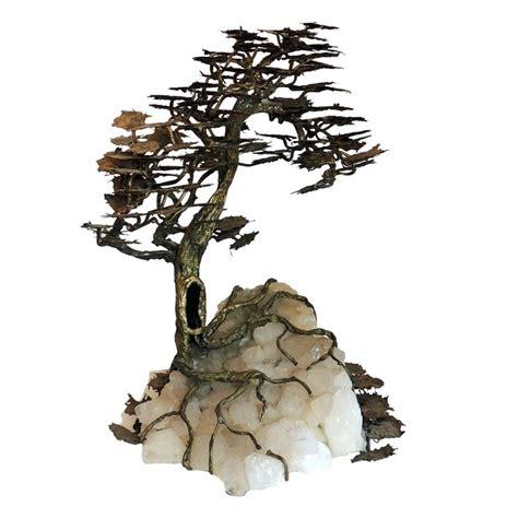 rock crystal l base wonderful large bronze fine tree sculpture quartz leaves
