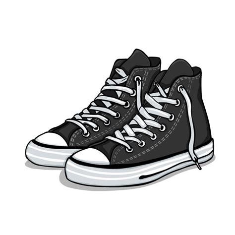 Sepatu All Black White sepatu kets kartun vektor misc vektor gratis gratis