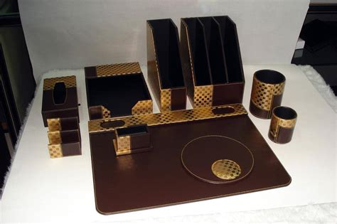 Office Desk Set Accessories Luxury Leather Office Desk Set Manufacturer Supplier