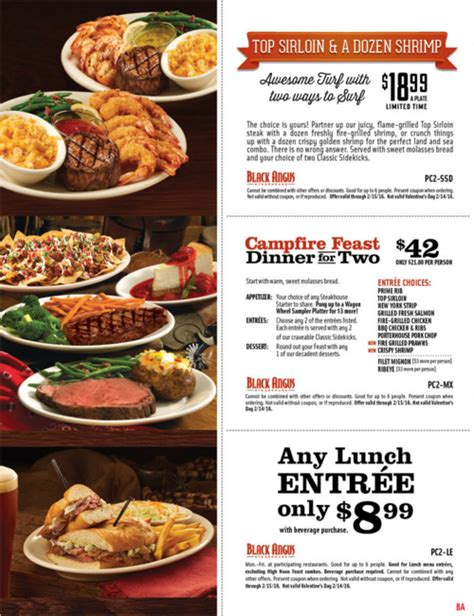 black angus steakhouse coupons promo codes 2016 black angus coupon 42 cfire feast dinner for 2 2016