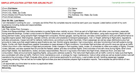 Curriculum Vitae Sample Format Download by Airline Pilot Application Letter On53201100