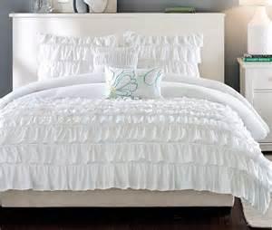 ruffle shabby white 5pc full queen comforter set teen