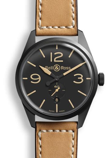 Bell Ross Vintage Aviation Black Steel Circle Brown Leather brv123 heritage bell ross br 123 heritage 187 watchbase
