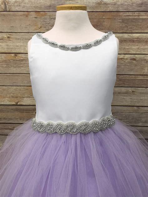 white lilac satin tulle dress w gem neckline belt