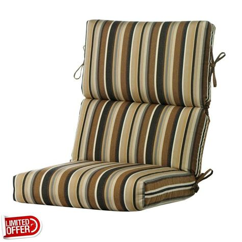 Outdoor Furniture Cushions by Sale Espresso Stripe High Back Outdoor Recliner Cushion