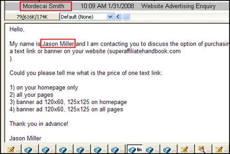 website advertising enquiry spam