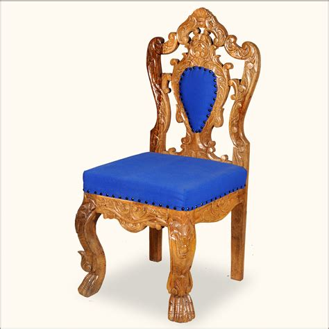 Royal Chair by Royal Carved Gold Blue Wood Rococo Revival Accent