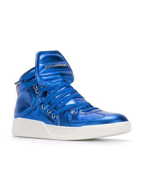 dolce and gabbana mens sneakers dolce gabbana metallic hi top sneakers in blue for