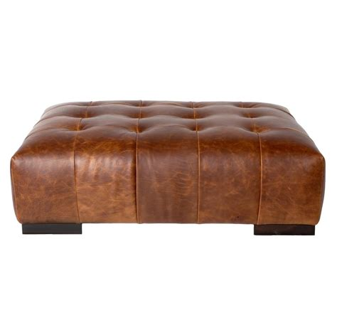 Leather Rectangular Ottoman Coffee Table Cisco Brothers Arden Modern Classic Tufted Terracotta Leather Rectangle Coffee Table Ottoman