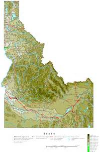 map of idaho idaho contour map