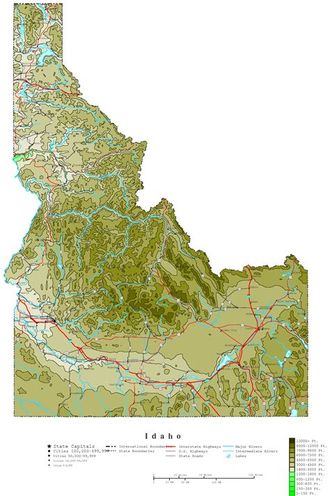 idaho map with cities idaho contour map
