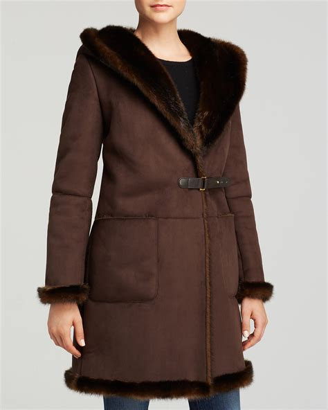 faux shearling drape jacket lauren ralph lauren francoise faux shearling drape front