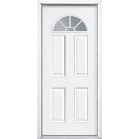 Steel Exterior Doors For Home Masonite 36 In X 80 In Premium Fan Lite Right Inswing Primed Steel Prehung Front Door