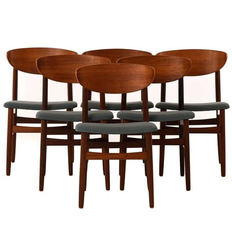 danish modern dining room furniture set of six danish modern dining chairs at 1stdibs