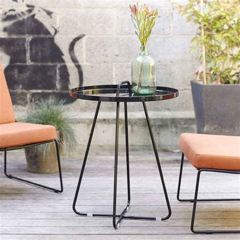 Small Metal Patio Table Small Metal Outdoor Side Table 55 Cm Patio Garden Indoor Design Ebay