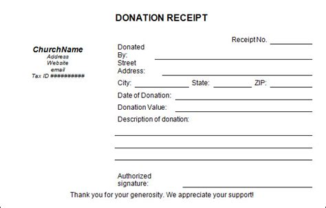 charity receipt template 23 donation receipt templates pdf word excel pages
