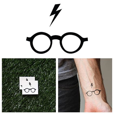 harry potter glasses temporary tattoo set of 2