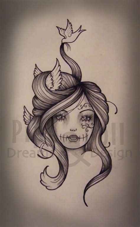 sketch tattoo style custom designs pipedolls