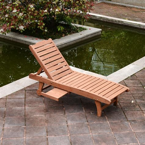 outsunny wooden chaise lounge outdoor patio furniture