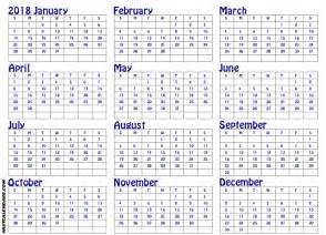 Printable Yearly Calendar 2018 Free Yearly Printable Calendar 2018 Editable