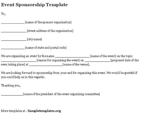 sponsor forms templates free event sponsorship form template