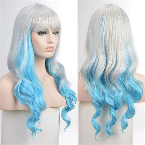 silver blue long hair pictures photos and images for facebook fairy lady silver blue cosplay gradient wig long wavy
