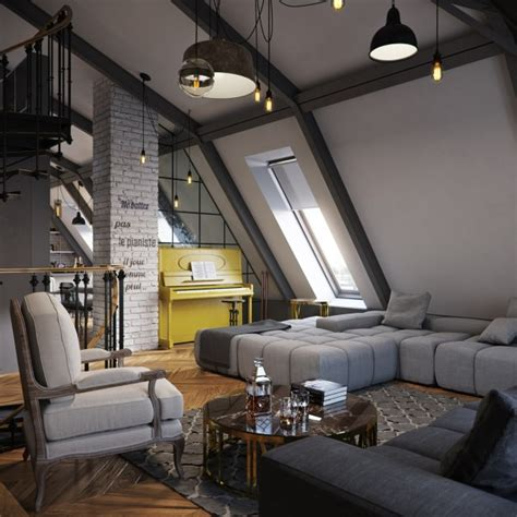 three colored loft apartments with exposed brick walls