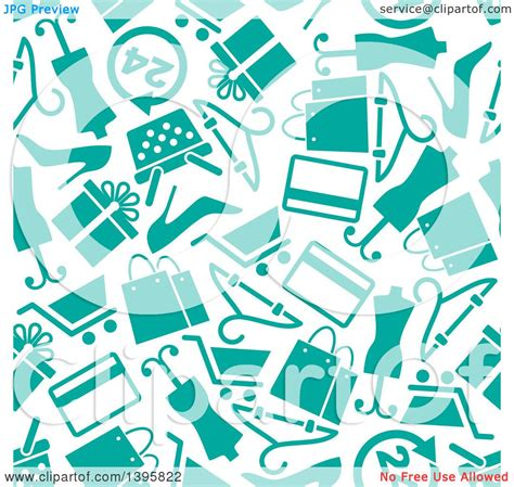 seamless pattern with shopping icons clipart of a seamless background pattern of turquoise