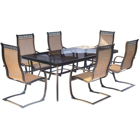 Rectangle Glass Top Dining Table Sets Hanover Monaco 7 Aluminum Outdoor Dining Set With Rectangular Glass Top Table And