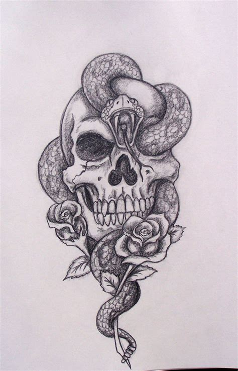 cool rose tattoo snake skull drawing cool idea tattoos