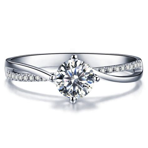 twisted shape engagement ring 14k white gold