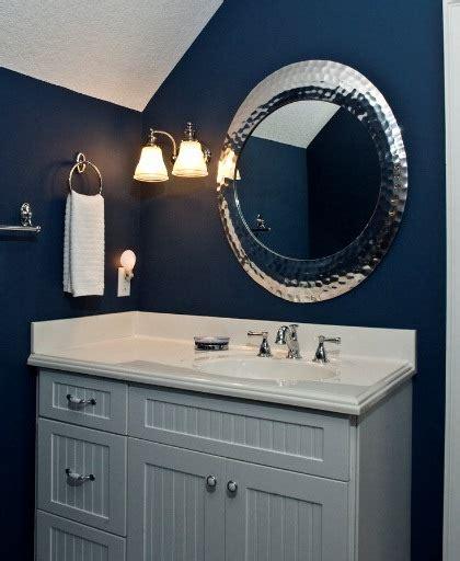 Powder Room Wall Decor Ideas Vintage Wall Sconces Add Elegance To Bold Blue Bathroom