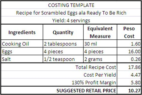 menu costing template food cost calculator excel template recipe costing