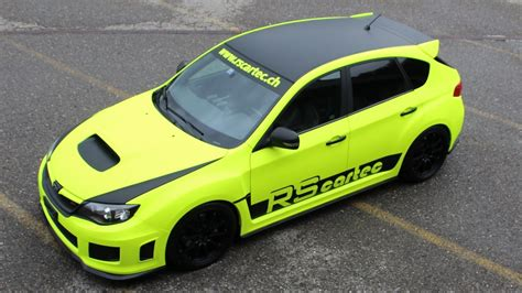 green subaru hatchback subaru wrx sti hatchback car wrap neon yellow