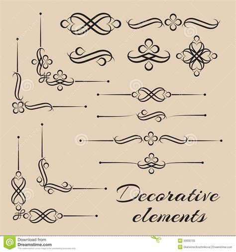 vector decorative design elements page decor vector set of decorative elements and page decor stock