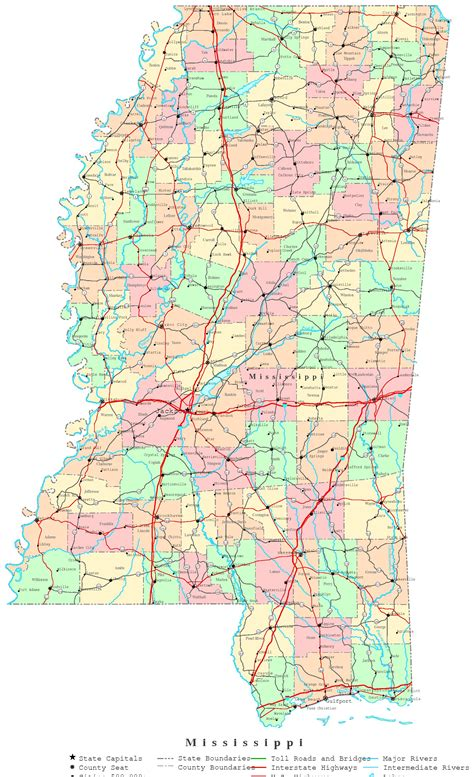 map of ms mississippi printable map
