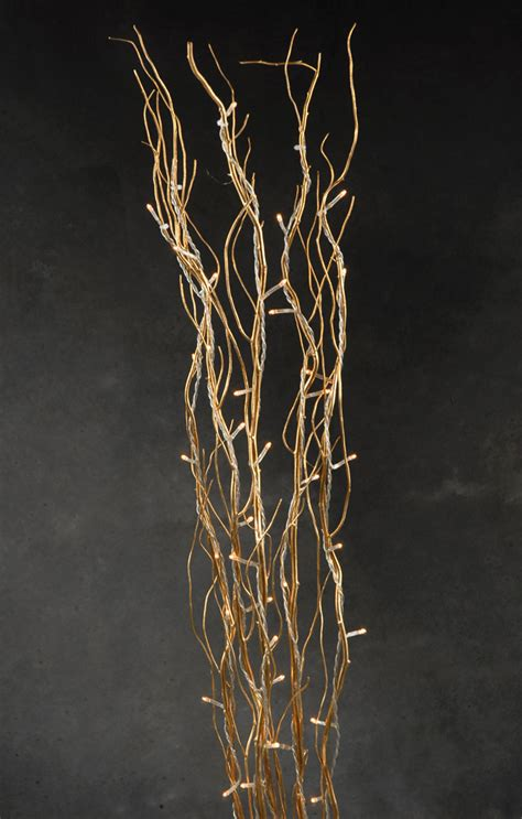 39 quot gold natural curly willow branches w gold lights 5