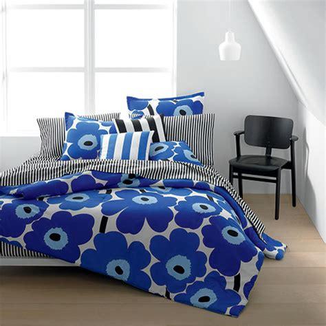 Cool Housewarming Gifts by Marimekko Unikko Blue Percale Bedding Marimekko Bed