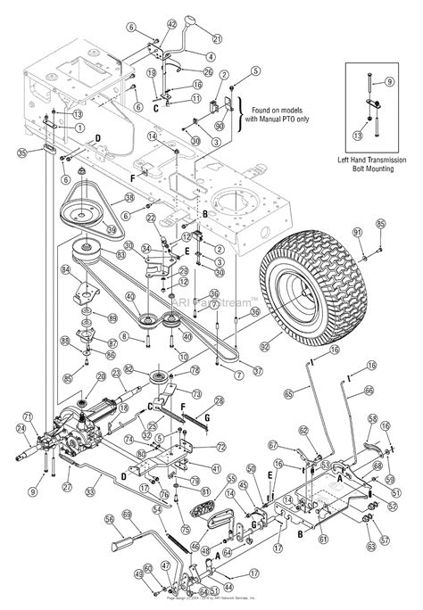 mtd mower parts diagram mtd 13ab606h730 2005 parts diagram for drive